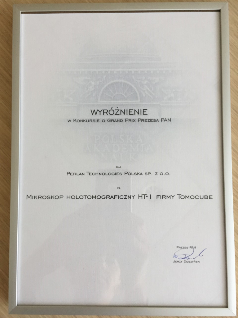 The HT-1 is awarded in the Grand Prix of the President of Polish Academy of Science.